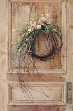 35 Fabulous Winter Wreaths Design Ideas Best For Your Front Door Decor - When most of us think of front door wreaths we think circle, evergreen and Christmas. Wreaths come in all types of materials and shapes. Diy Christmas Decorations, Christmas Wreaths To Make, Noel Christmas, Festival Decorations, Holiday Wreaths, How To Make Wreaths, Rustic Christmas, Christmas Crafts, Winter Wreaths