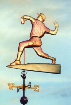 Baseball Pitcher Weathervane by West Coast Weather Vanes. This copper Baseball Player Weather Vane features glass eyes and Brass and Gold accents. Distinct hand crafted tooling gives the clothing a realistic appearance. Blowin' In The Wind, Weather Vanes, Wind Spinners, Copper, Brass, Baseball Players, Gold Accents, West Coast, Mud Rooms