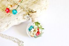 Red White and Blue Terrarium Necklace Woodland by teenytinyplanet