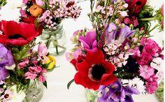 Spring Flowers: wax, anemone, mathiola, freesia, Dianthus.