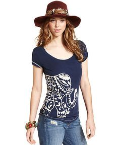 Lucky Brand Jeans Top, Short-Sleeve Scoop-Neck Elephant-Print Tee - Shop All Impulse - Women - Macy's