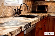 Magma Gold is an exotic granite in quarried in Brazil. It is a more expensive granite because of the extensive manual labor that it requir. Red Cabinets, Kitchen Cabinets Decor, Kitchen Ideas, Pantry Ideas, Kitchen Inspiration, Granite Backsplash, Kitchen Backsplash, Outdoor Kitchen Countertops, Cabin Kitchens
