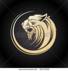 Gold tiger head logo template.