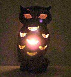Vintage Art Pottery Owl Ceramic Luminary Candle Holder Brown Drip Glaze Figural
