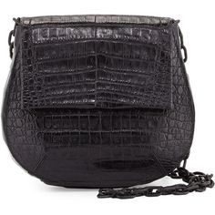 Nancy Gonzalez Crocodile Shoulder Saddle Bag (€2.255) ❤ liked on Polyvore featuring bags, handbags, shoulder bags, black, handbags shoulder bags, hand bags, man shoulder bag, shoulder bag purse, croc shoulder bag and chain purse