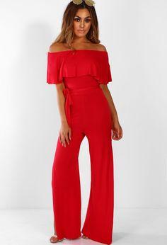 22646d31b17e Oh So Chic Red Bardot Split Leg Jersey Jumpsuit