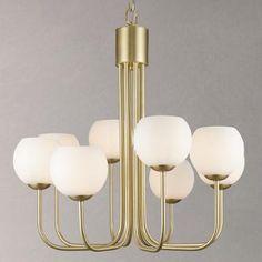 Buy John Lewis Levin 8 Bulb Ceiling Light, Brass / Opal | John Lewis