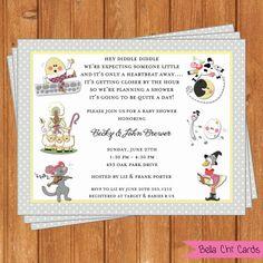 Nursery Rhymes Baby Shower Invitations BSI374DIY  by BellaChiCards