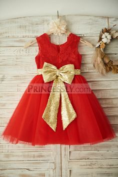 Red Lace Tulle Wedding Flower Girl Dress Christmas Party Dress with Gold Sequin Belt\Bow