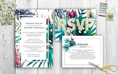 Tropical Wedding Invitations by FloptyDooDesigns on Etsy