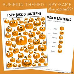 Free jack-o-lantern Halloween themed I Spy game for kids from And Next Comes L