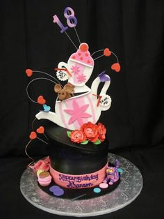 Tea is served! This topsy-turvey tiered birthday cake is fun and creative for your 18 year-old. @PartyFlavors #PartyFlavors
