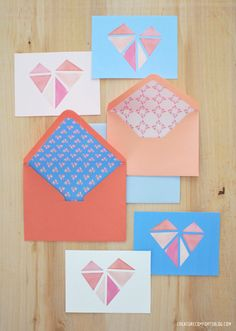 Free Printable: Geo Hearts Patterned Paper Set
