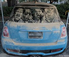 "A Dirty Car Art piece titled ""Houston Blues"" by Scott Wade Street Art Banksy, Graffiti, Waste Art, Sidewalk Art, Unusual Art, Car Drawings, Window Art, Outdoor Art, Land Art"