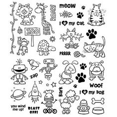 Digi Stamps animals Turtle, Giraffe, Lion, Monkey, Kitty, Cat, Dog, Bulldog, Robot, Poodle, Zoo