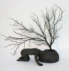 Racines - (Roots) by Christian Voltz. lives and works in Strasbourg (France), where he studied Arts at the Ecole Supérieure des Arts Décoratifs. Sculptures Céramiques, Art Sculpture, Ceramic Pottery, Ceramic Art, Alsace France, Art Brut, Ceramic Figures, Soul Art, Clay Art