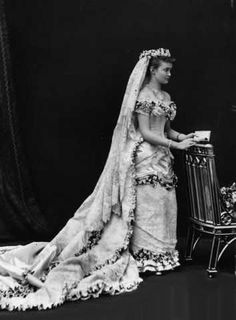 Princess Louise Margaret of Prussia on her wedding day to Prince Arthur, Duke of Connaught, the third son of Queen Victoria, 1879.