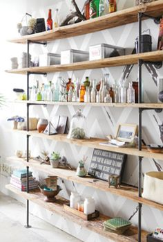 Great shelves  Chevron wall