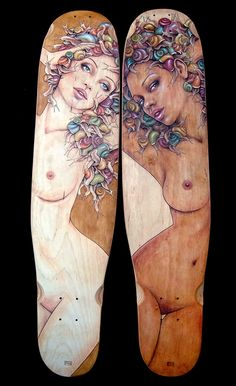 "Snail Ladies pyrography, pastel and paint on canadian maple longboard. 38"" bustin board 'complex' Commission by Justin Holt"