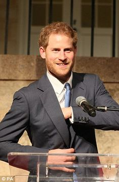Harry looked in jovial form as he addressed dignitaries at a welcome reception at Clarence House on Antigua