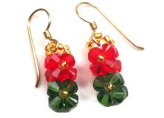 Beaded Earrings Red and Green Flower by SmileykitCreations on Etsy, $8.00 see more beaded earrings here http://www.etsy.com/shop/smileykitcreations
