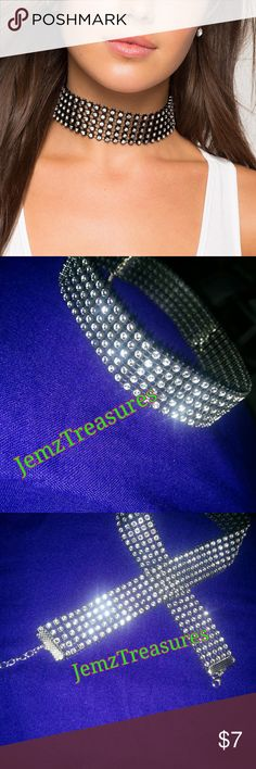 Rhinestone choker 11.5 inches plus 5 inches chain links. Adjustable five rows of faux rhinestones Jewelry Necklaces