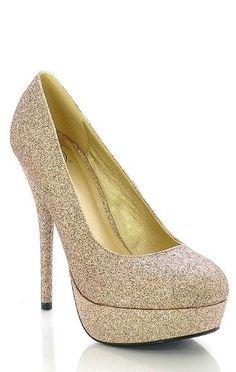 Glittery Gold High Heel Platform Pumps