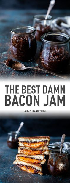 The Best Damn Bacon Jam Recipe - - You won't find anything strange in this stunning and flavorful Bacon Jam, just caramelized onions, bacon, and a few not-so-secret ingredients, so get ready to indulge in those best bacon dreams and get cooking! Bacon Jam Burger, Bacon Onion Jam, Bacon Bacon, Oven Bacon, Pizza Burger, Bacon Funny, Bacon Sandwich, Bacon Pasta, Jelly Recipes