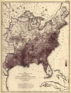 "Map ""shows the proportion of ""the Colored to the aggregate population,"" based on first census since the end of the Civil War: - for those of you whose families were in the U. American Civil War, American History, American Veterans, Early American, Vintage Maps, Antique Maps, Old Maps, Le Far West, Historical Maps"