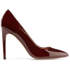 Halston Heritage Shirley patent-leather pumps (€165) ❤ liked on Polyvore featuring shoes, pumps, heels, burgundy, pointed toe shoes, pointed toe pumps, high heel pumps, burgundy shoes and patent leather pumps