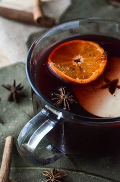 Hot apple cider and red wine, blended and mulled with honey, apples, clementines, and seasonal spices, then spiked with spiced rum.
