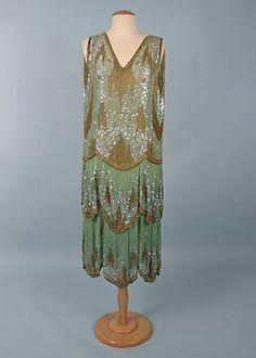 Seafoam Green & Gold Beaded Dance Dress, 1920s