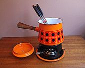 Vintage Mid Century Orange with Daisy Fondue Pot with Base and Skewers Wood Handle Imperial Japan