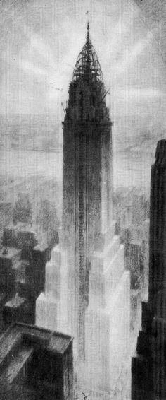 Chrysler Building, Chanin Building - Rendered By Hugh Ferris