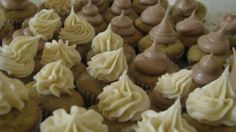 Banana cupcakes and multiple frosting ideas.  Thinking caramel cream cheese frosting would be good too!