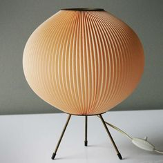 Mid Century Table Lamp Attributed to Rispal France   Celluloid rhodoïd) on a small brass tripod; height 12.6 in. (32 cm), diameter 10.2 inches (26 cm)