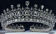 The Fife Tiara first belonged to Princess Louise of Wales, the oldest daughter of King Edward VII and Queen Alexandra. When she married the Earl of Fife in 1889, she received quite a waterfall of sparkling presents; this stunning tiara with pear-shaped diamonds hanging freely in a diamond framework, topped with more pear-shaped diamonds alternating with round diamonds, was among them. It is thought to be the work of Parisian jeweler Oscar Massin