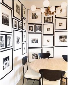 Midweek design inspiration from @nicoledavisinteriors - I'm a big fan of printing out family snapshots in black and white and using clean gallery frames to unite them, so this space is perfection to me!