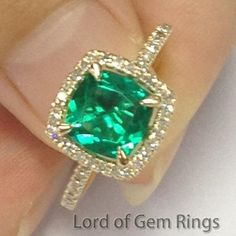 $369 Shop Cushion Emerald Engagement Ring Pave Diamond Wedding 14K Yellow Gold at Lord of Gem Rings (LOGR) at great price. Free shipping and easy 30-day returns. Large selection of intricate Gemstone rings for wedding, anniversary, Buy Now and Save!
