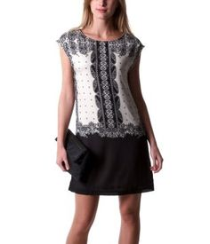 Vestido barroco estampado negro - Promod