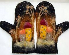 mittens embellished with needlefelting and a bit of embroidery Too cute. Mitten shapes embellished and mounted in old frame!