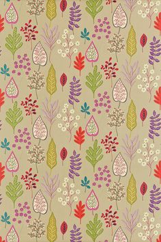 Zosa (120128) - Harlequin Fabrics - Stylised decorative flowers, leaves and ferns on an open-spaced background. Shown in the Biscuit, Ruby, Peony, Zest colourway. Please request sample for true colour match.