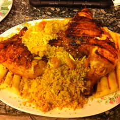 Moroccan chicken, apricot couscous and flat bread.