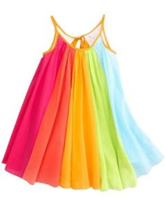 Summer Girls Beach Rainbow Dress Fabal Girls Sleeveless Sling Perform Party Dress