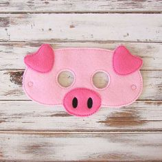 Pig Mask - Felt - Kids Mask - Farm - Animal - Costume - Dress Up - Halloween - Pretend Play