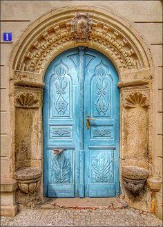 Dresden, Saxony, Germany, beautiful blue door, ornaments, details, curves, entrance, doorway, portal, photo