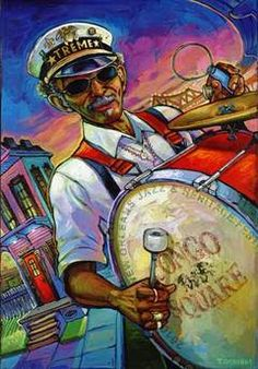 """2010 New Orleans Jazz Fest poster """"Congo Square"""" featuring """"Uncle"""" Lionel Batiste by Terrance Osbourne"""