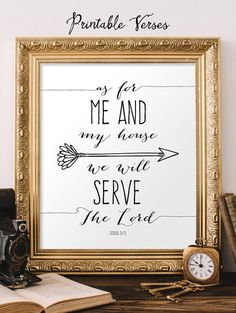 Joshua 24:15 Printable Bible Verse Quote Sign As For Me And My House We Will Serve The Lord Arrow INSTANT DOWNLOAD Digital 11x14 8x10 5x7