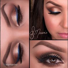 Fun way to use color and add Neutral Look and Blue Liner