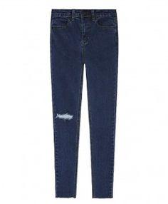 High Waist Torn Burrs Jeans